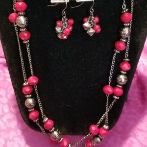 Red glass and gunmetal bead necklace earring set